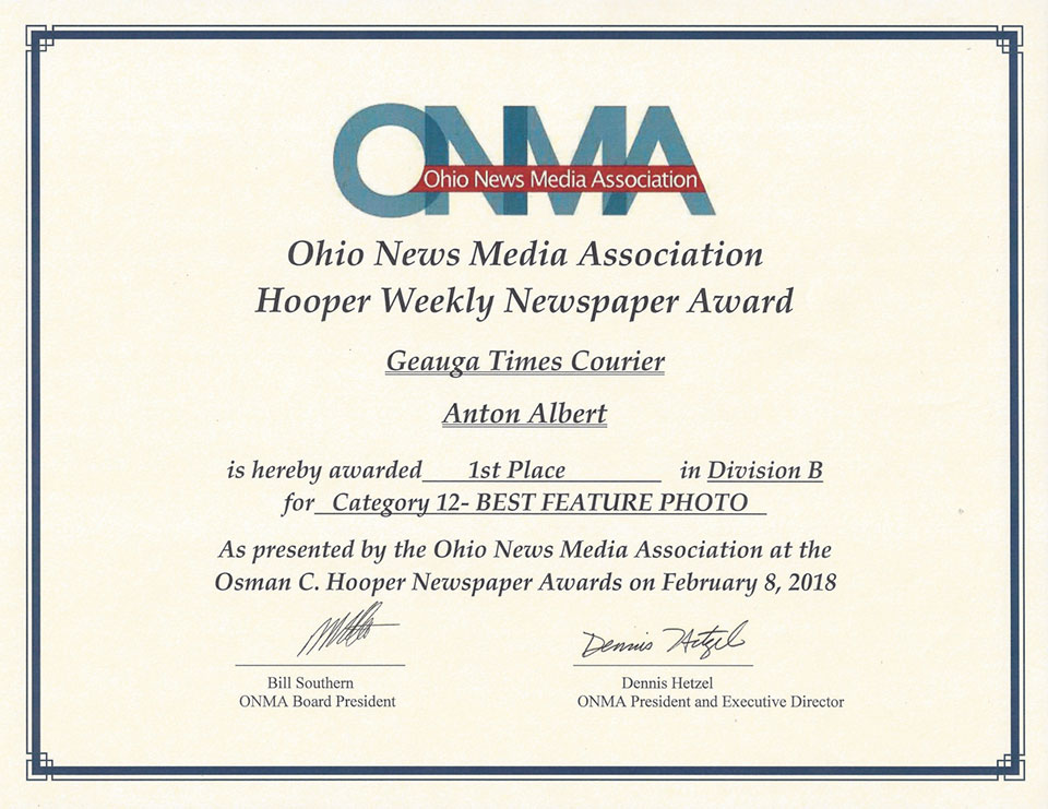 Ohio News Media Association Hooper Weekly Newspaper Award