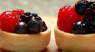 Two tarts with fresh fruit
