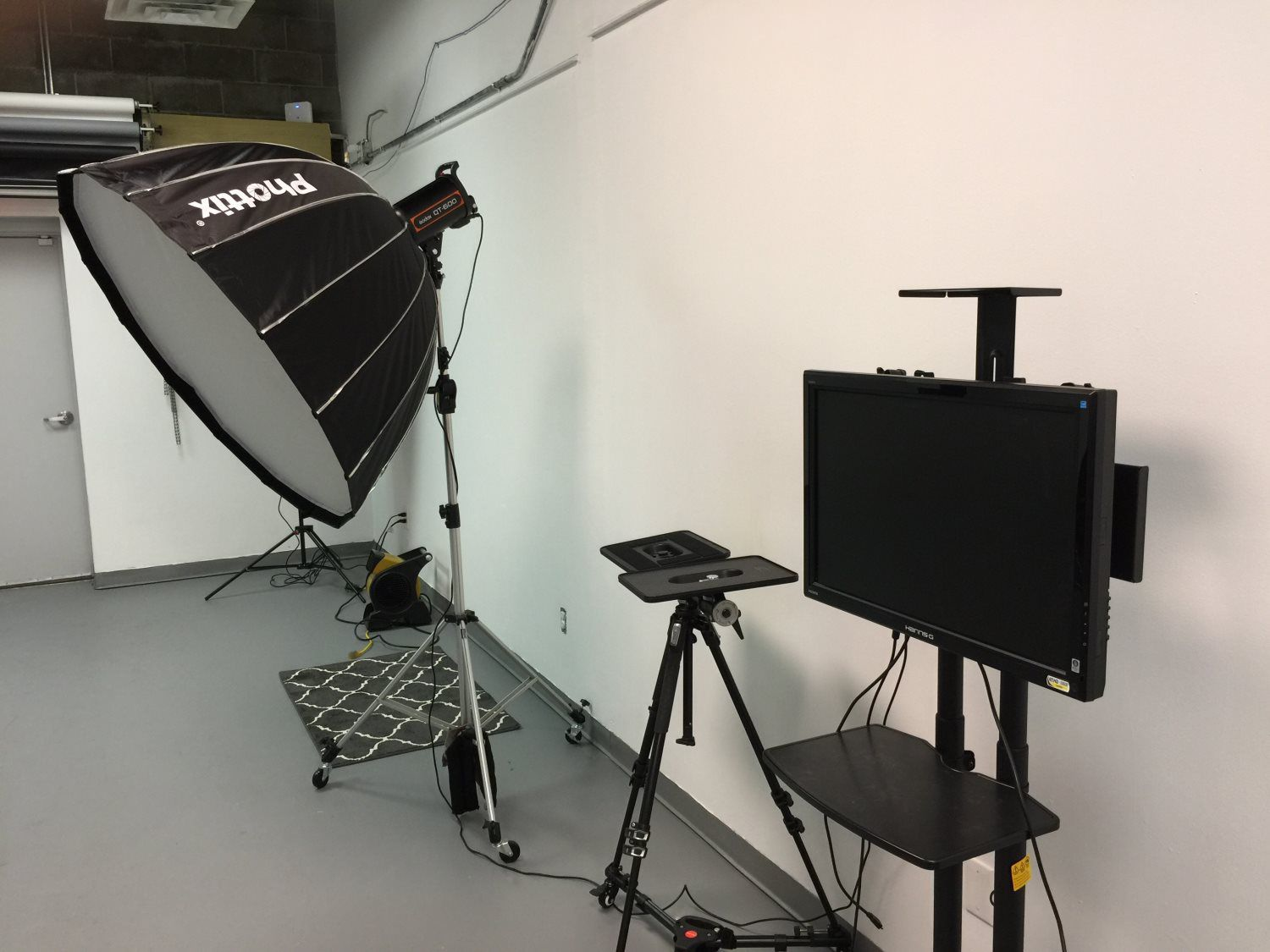 Lighting, television monitor and other studio equipment